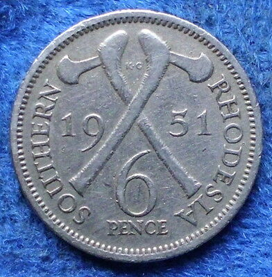 SOUTHERN RHODESIA - 6 pence 1951 KM# 21 George VI (1936-52) - Edelweiss Coins