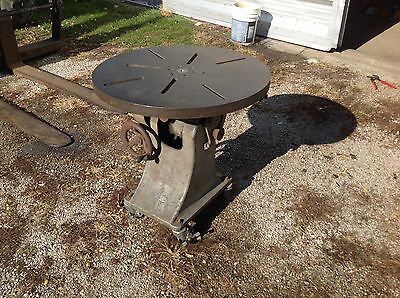 "Vintage Industrial 30 x 30""  Steampunk Table  Welding Fixture, Tilts & Rotates"