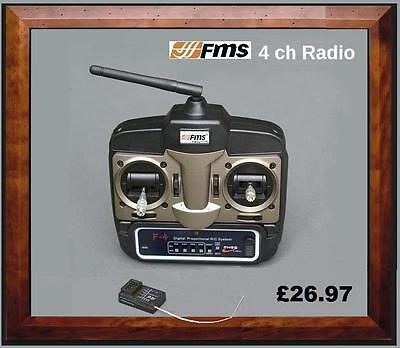 FMS 4 Channel 2.4GHz  Radio  Set (Transmitter + Receiver, Throttle on the left)