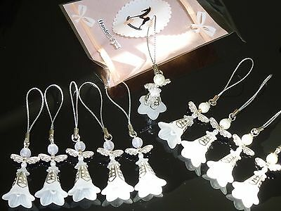 10 White ANGELS-Christening/New Baby/Kid's Party charms 42mm,Birthday souvenirs