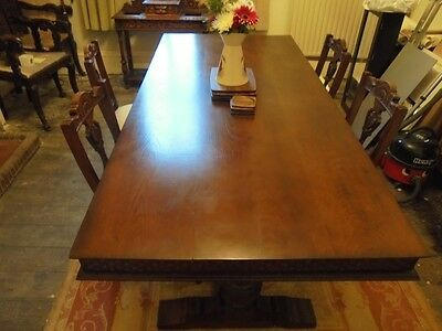 Antique Oak Refectory Dining Table 7 Ft