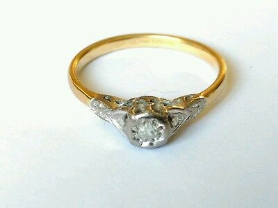 Vintage 18ct Platinum Diamond Solitaire Ring. Size N