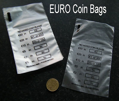 100 x Plastic Money / EURO Coin / Bank Bags - No Mixed Coins - New and Reusable