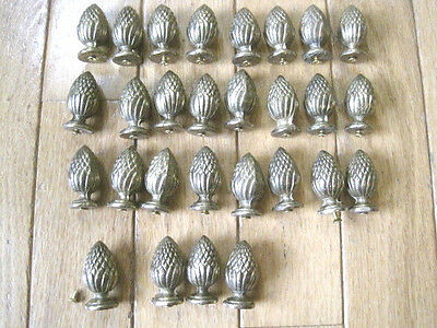 Set of (28) Vintage Brass Pineapple Drawer Knobs Pulls Finials Restoration