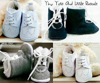 Baby Boys First Pram Christening Wedding Occasion Xmas Shoes Size 1 - 4 Infant