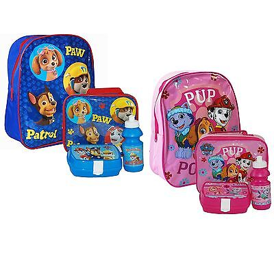 Paw Patrol Backpack Bag Lunch Bag Case with Sandwich Box and Drinking Bottle Set