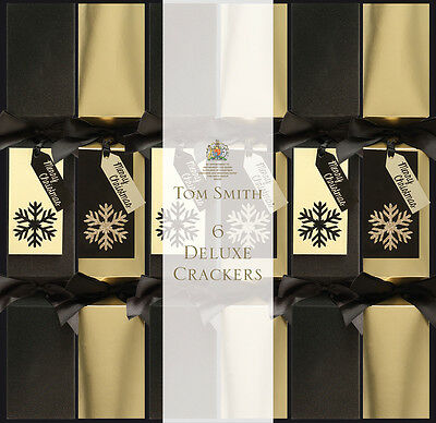"6 Tom Smith Luxury Christmas Crackers Square 14"" Black & Gold"