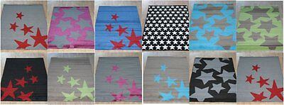 Quality Large Rugs 150cm x 100cm Kids 5 Designs Stars, Rug Bright New Colours