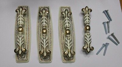4 Vintage French Provincial White Gold Ornate Handles Cabinet Drawer Pulls