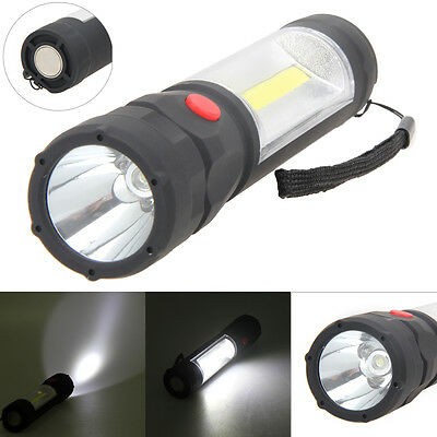 COB 1200LM LED Magnetic END Work Light Inspection Flashlight Lamp Torch AA Black