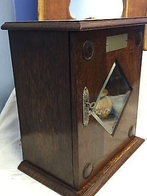 Vintage Dark Oak Wooden Smoking Cabinet  Pipe Rack, Drawer Tobacco Jar Key Lock