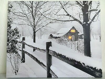 Lighted Fence & House Picture on Canvas w Led Lights Wall Art Christmas Decor