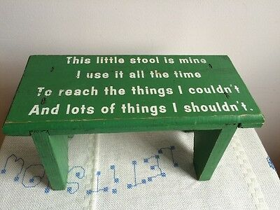 Vintage This Little Stool Is Mine Green Wooden Wood Child's Vanity Sink Stool