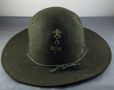 Early 1900's Boy Scouts Of American Green Hat Wide Brim Size 6 3/4 w/ Pins