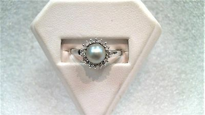 Black Pearl and Diamond Ring 14K Solid white gold 9.5
