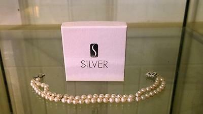 Elegant Vintage Two Strand Pearl Bracelet with Silver Clasp with Box