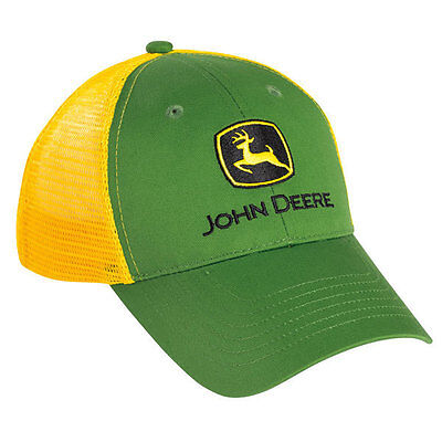 JOHN DEERE *YOUTH* GREEN & YELLOW Trucker MESH Trademark Logo HAT CAP *NEW!*