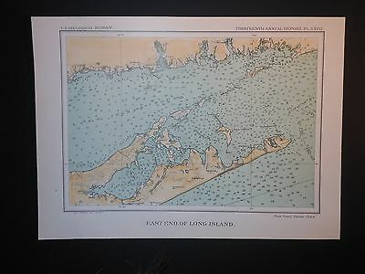 East End Long Island Sound New York Gardners Bay Shelter Island 1893 Map Hand Co