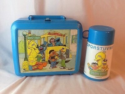 Vintage Sesame Street Bigbird, Bert, Ernie, Cookie Monster Lunchbox and Thermos