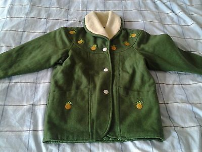 green color warm coat with 30% wool, polyester inner layer with gold pineapple