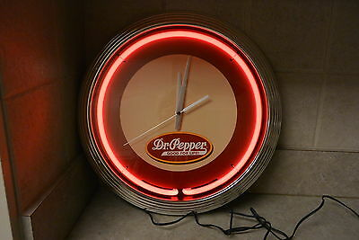 NEW DR PEPPER Neon Red Wall clock  Advertisement Sign man cave game room
