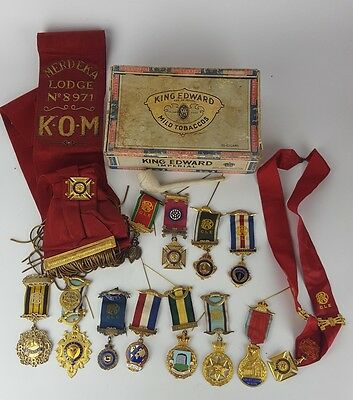 Collection Of Raob Silver Gilt Jewels Medals To Bro W. Denmead - Founder
