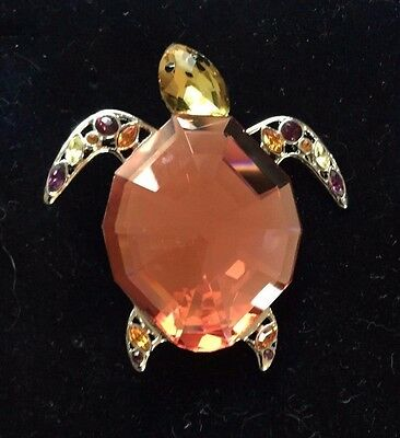 Swarovski Crystal Turtle Pin With Certificate Of Authenticity