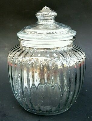 """Vintage Apothecary Jar Clear Glass Ribbed w Plastic Suction Seal Lid 7"""" Tall"""