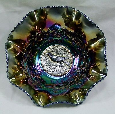 Australian MAGPIE Small Bowl in Black Amethyst Vintage Carnival Glass 1920s