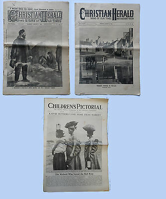 """3 x  Vintage  1930s  Newspapers T""""HE CHRISTIAN HERALD 1Jan 1930 & August 1939"""