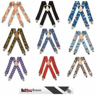 Brimarc Mens Heavy Duty Metal Clip Wide Work Trouser Braces 53 Assorted Patterns