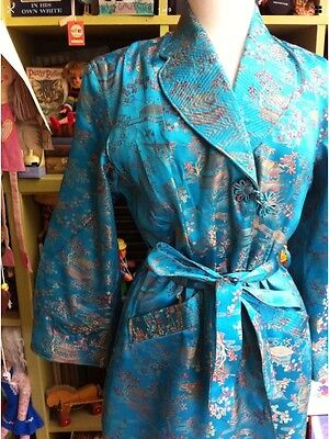 True Vintage Dressing Gown 1950's Turquoise Chinese Satin Size 12 Medium Lovely