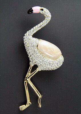New Pink Flamingo With Hundreds Of Clear Genuine Austrian Crystals Pin Brooch