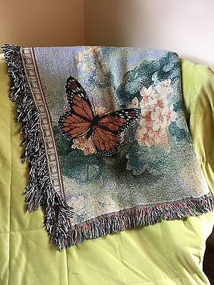 Butterfly Woven Tapestry Throw Blanket