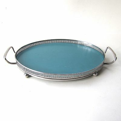 Vintage Silver Plated Gallery Butler's Tray Ball Feet Oval Formica Centre