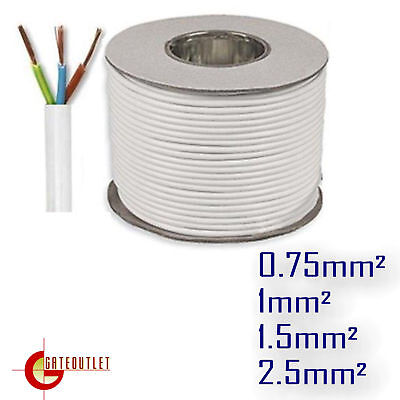 White 3 Core Round Flexible 3183Y Flex Cable PCV Extension Electrical Wire Lead