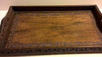 Beautiful Antique oak wood hand craft carved serving tray Victorian Arts Crafts