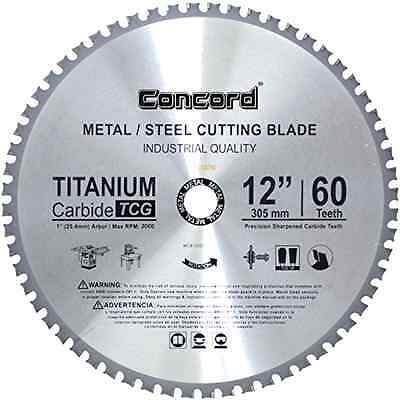 Metal Cutting Blade 12-In 60 Teeth TCT Ferrous Ultra Sharp Hard Titanium Carbide
