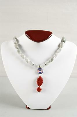 Charming Vintage Peace Jade Cinnabar and Cloisonne Necklace Sterling Silver