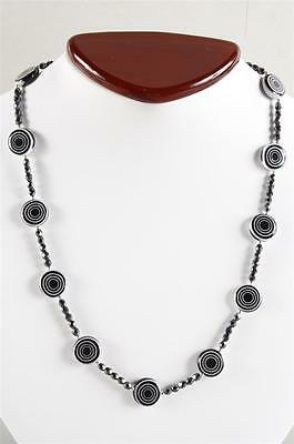 Exquisite Art Deco Faceted Hematite and Art Glass Bead Necklace