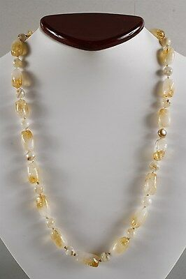 Gorgeous and Vivid Genuine Citrine and Round Forme Mother of Pearl Bead Necklace