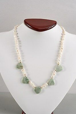 Stunning Vintage Genuine Asian Freshwater Pearl & Ching Hai Jade Heart Necklace