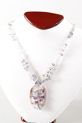 Vintage Estate Natural Fluorite Chip & Mother of Pearl Center Pendant Necklace