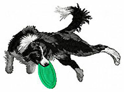 Border Collie Frisbee (b) Embroidery Patch