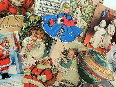Lot of 12 VINTAGE Adorable CHRISTMAS DIE CUTS 4 Crafts | FREE SHIP | X15