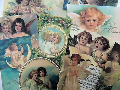 Lot of 12 Adorable CHRISTMAS Vintage Victorian ANGELS Die Cuts 4 Cards | X37