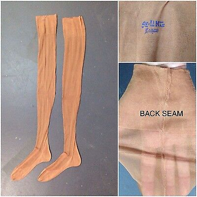 Vintage NOS 1930s 1940s Sheer Sun Bronze Crepe Long Stockings with Back Seam M