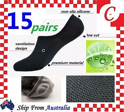 15 Pairs NO SHOW BAMBOO SOCKS Non Slip Heel Grip Low Cut Invisible Footlet Bulk