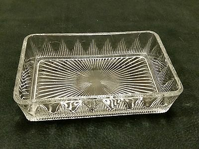 Vintage Clear Glass Rectangle Candy Or Trinket Dish