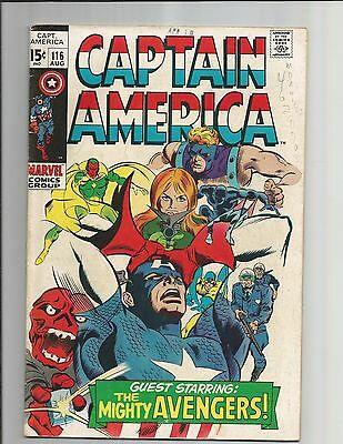 Captain America #116  Fn-  White Pages Silver Age Marvel Comics 1969